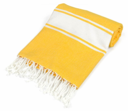 DII Yellow Tri Stripe Fouta Towel Perspective: back