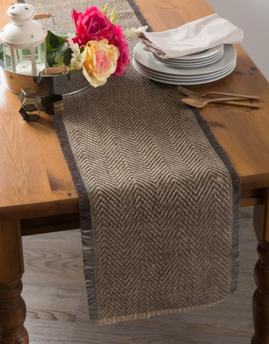 DII Mineral Chevron Burlap Table Runner Perspective: back