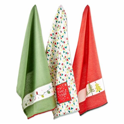 Design Imports Assorted Festive Christmas Embellished Dishtowel - Set of 3 Perspective: back