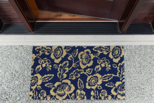 DII Blue Peonies Doormat Perspective: back