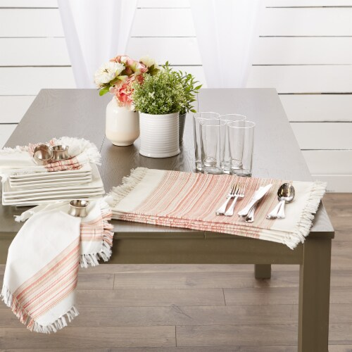 """DII Fringed Stripe Tabletoppers, 13x20"""", Pimento, 6 Pieces Perspective: back"""