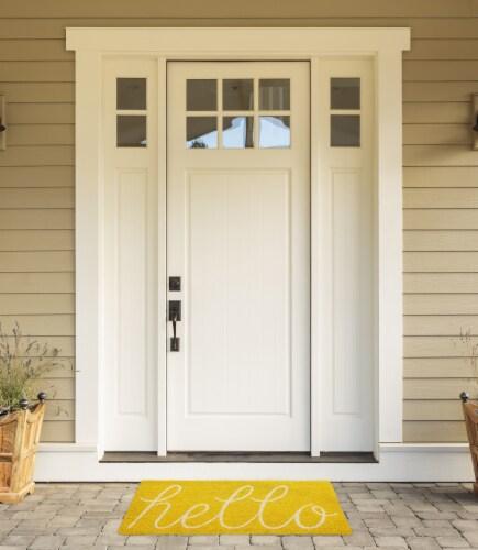 DII Yellow Hello Doormat Perspective: back