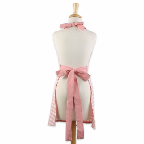 Pink & White Gingham Apron Perspective: back