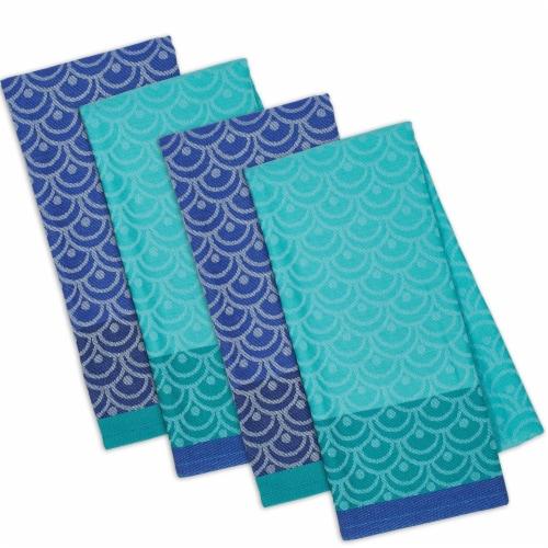 "Dii Blue Scallops Dishtowel Set, 18X28"", 4 Piece Perspective: back"
