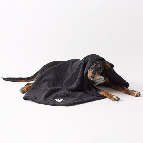 Bone Dry Black Embroidered Paw Pet Towel Perspective: back
