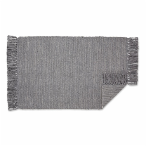Dii Gray And Off White 2-Tone Ribbed Rug 2X3 Ft Perspective: back