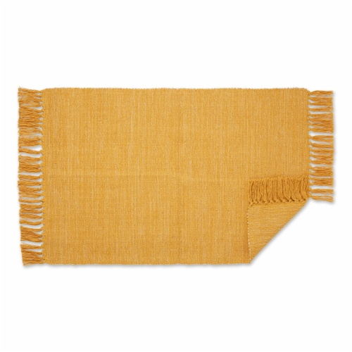 Dii Honey Gold And Off White 2-Tone Ribbed Rug 2X3 Ft Perspective: back