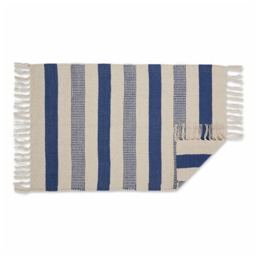 Dii French Blue Combo Stripe Hand-Loomed Rug 2X3 Ft Perspective: back