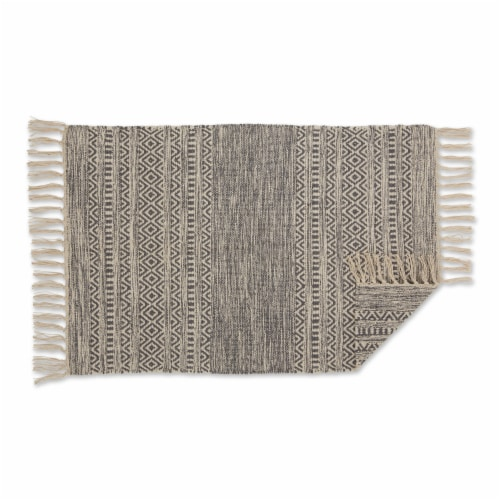 Dii Gray Textured Dobby Hand-Loomed Rug 2X3 Ft Perspective: back