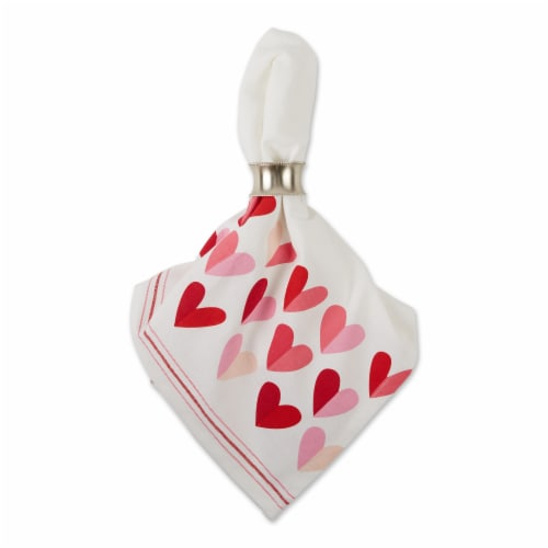 Dii Two Hearts Print Napkin (Set Of 6) Perspective: back
