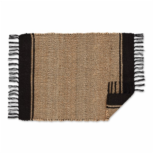 Dii Black With Natural Jute Stripes Hand-Loomed Rug Perspective: back