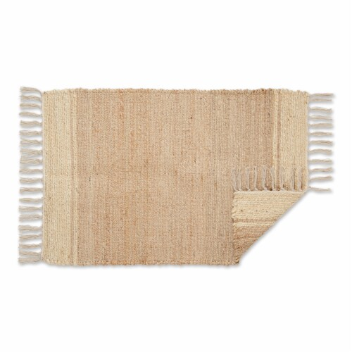 Dii Off White With Natural Jute Stripes Hand-Loomed Rug Perspective: back