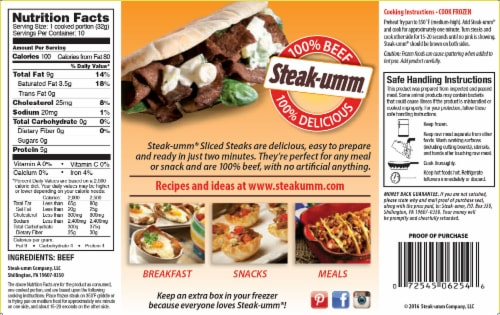 Steak-umm All Natural 100% Beef Sandwich Steaks Perspective: back