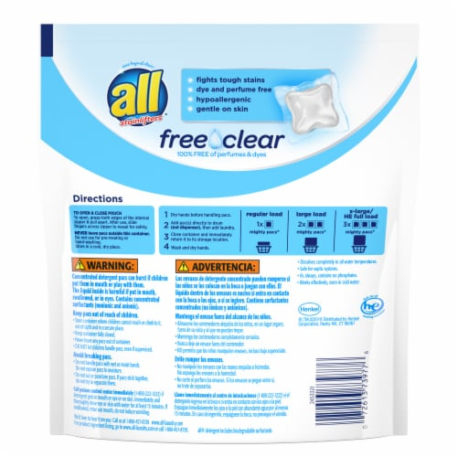 All with Stainlifters Free Clear Laundry Detergent Pacs Perspective: back