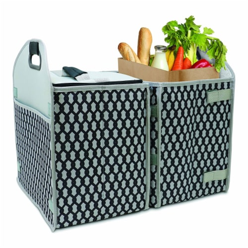 Homz Insulated 3 Section Trunk Organizer Storage Box with Cooler Bag, Gray/Black Perspective: back