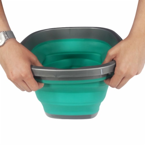 Homz Store N Stow Heavy-Duty Portable Collapsible Bucket - Teal/Gray Perspective: back