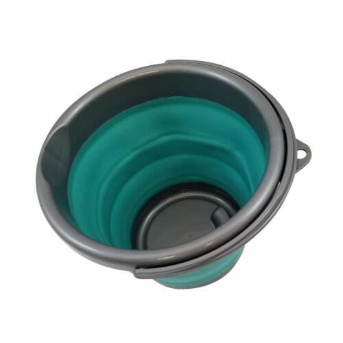 Homz Store N Stow Collapsible Bucket - Gray/Teal Perspective: back