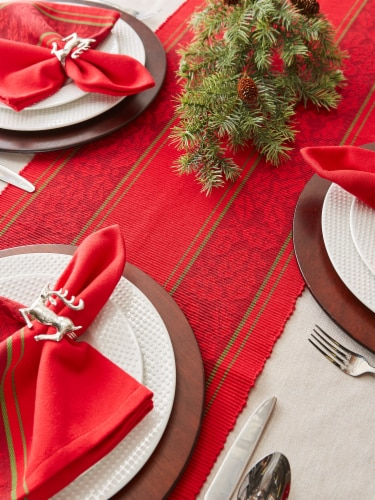 DII Holly Stripe Jacquard Table Runner 108 Perspective: back