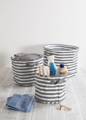 DII PE-Coated Herringbone Woven Cotton Laundry Bin Stripe Gray Round Assorted (Set of 3) Perspective: back
