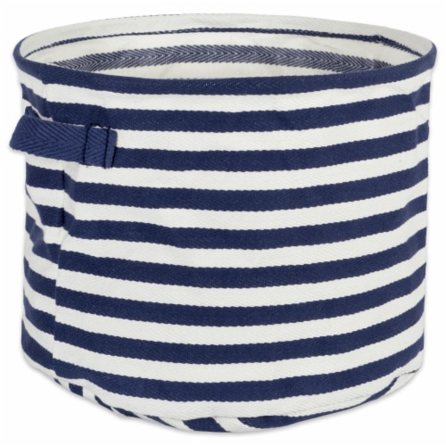 DII Pe Coated Herringbone Woven Cotton Laundry Bin Stripe French Blue Round Small  (Set of 2) Perspective: back