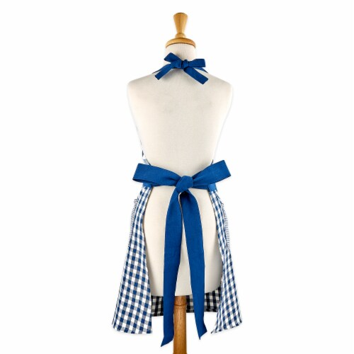 Design Imports Navy & Off White Gingham Apron Perspective: back