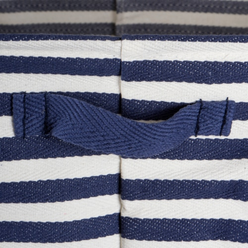 Herringbone Woven Cotton Laundry Bin Stripe French Blue Round Medium  (Set of 2) Perspective: back