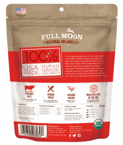 Full Moon Organic Beef Jerky Dog Treats Perspective: back