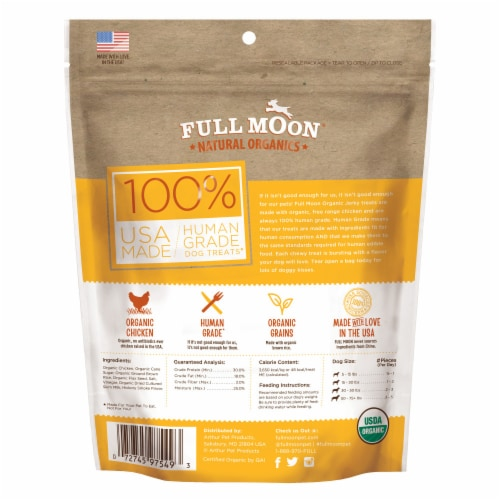 Full Moon Natural Organic Chicken Jerky Dog Treats Perspective: back