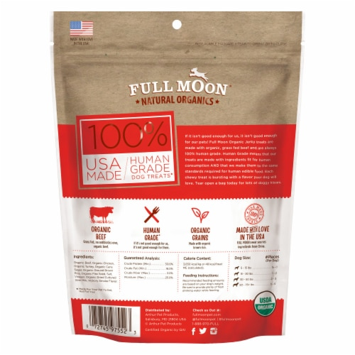 Full Moon Natural Organic Beef Jerky Dog Treats Perspective: back