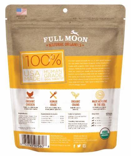 Full Moon Organic Chicken Jerky Dog Treats Perspective: back