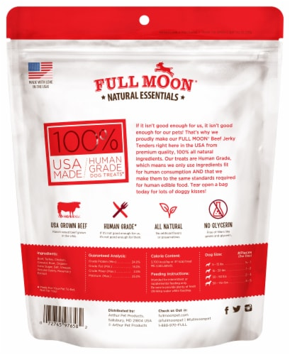 Full Moon Natural Essentials Beef Jerky Tenders Dog Treat Perspective: back
