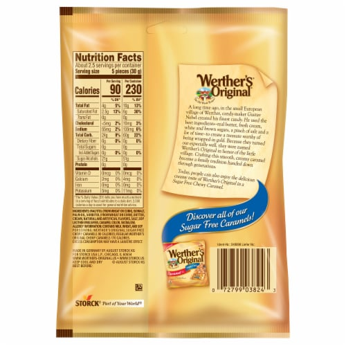 Werther's Original Sugar Free Chewy Caramel Candies Perspective: back
