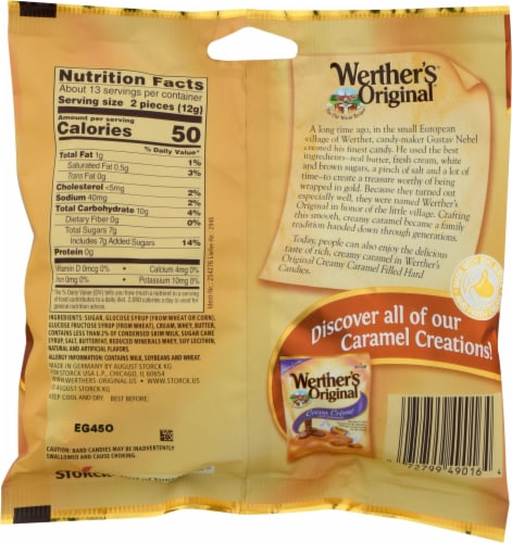 Werther's Original Creamy Caramel Filled Hard Candies Perspective: back