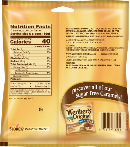 Werther's Original Sugar Free Carmel Coffee Perspective: back