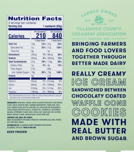 Tillamook Mint Chocolate Chip Ice Cream Sandwiches 4 Count Perspective: back