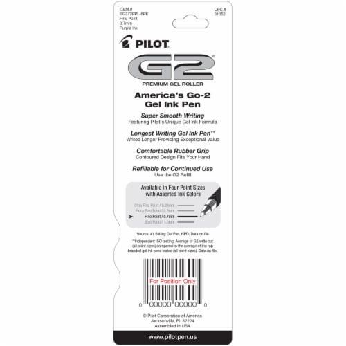 Pilot G2 0.7mm Fine Comfort Grip Gel Roller Pens - Purple Perspective: back