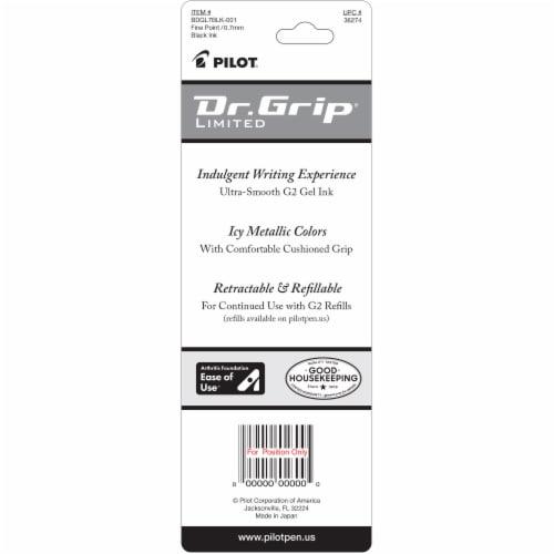Pilot Dr. Grip Limited Fine Point Retractable Gel Roller Ball Pen - Black Perspective: back