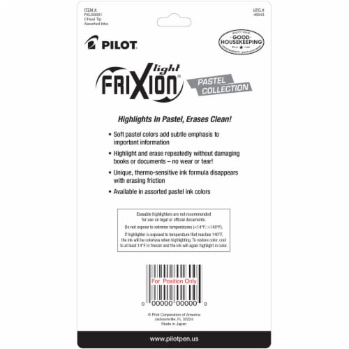 Pilot FriXion Light Pastel Erasable Highlighters - Assorted Perspective: back