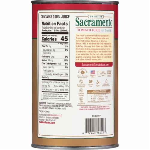 Sacramento 100% Tomato Juice Perspective: back
