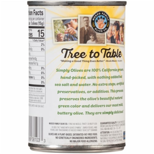 Pearls® Simply Olives Green Ripe Medium Pitted California Olives Perspective: back
