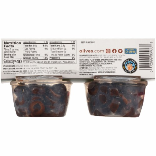 Pearls Organic Sliced Ripe Olive Cups 4 Count Perspective: back