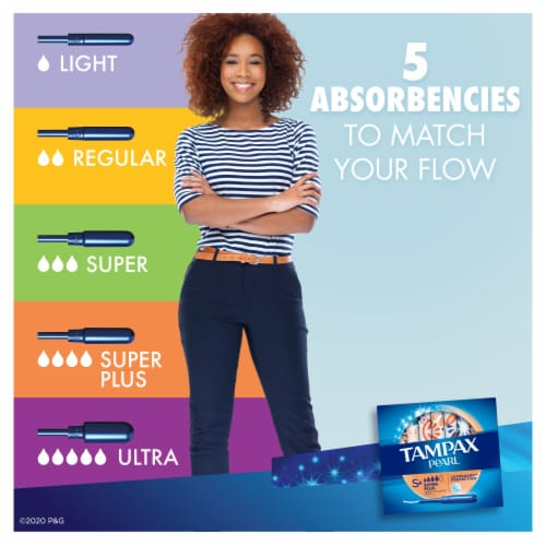 Tampax Pearl LeakGuard Super Absorbency Unscented Tampons Perspective: back
