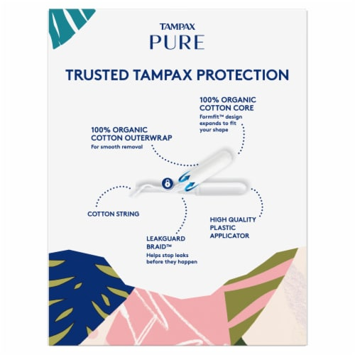Tampax Pure Organic Cotton Core Super Absorbency Tampons Perspective: back