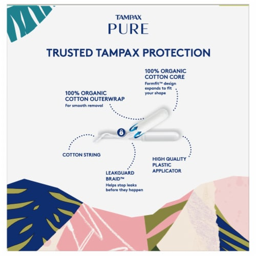 Tampax Pure 100% Organic Cotton Core Regular & Super Absorbency Tampons Perspective: back