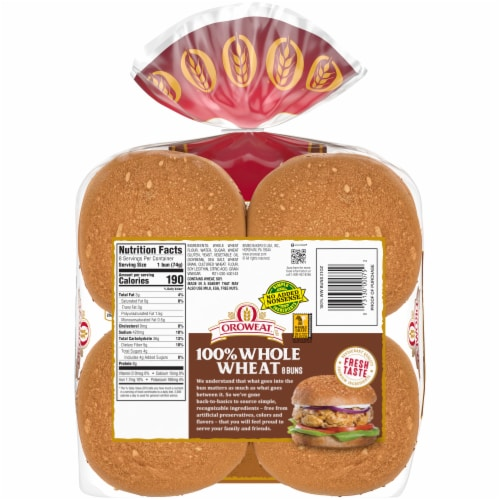 Oroweat Whole Wheat Sandwich Buns 8 Count Perspective: back