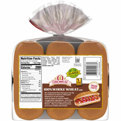 Oroweat Whole Grain Wheat Hot Dog Buns 6 Count Perspective: back