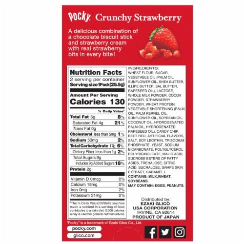 Pocky Crunchy Strawberry Cream Covered Chocolate Biscuit Sticks Perspective: back