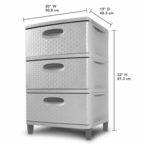 Sterilit Weave 3 Drawer Unit - Cement/Gray Perspective: back