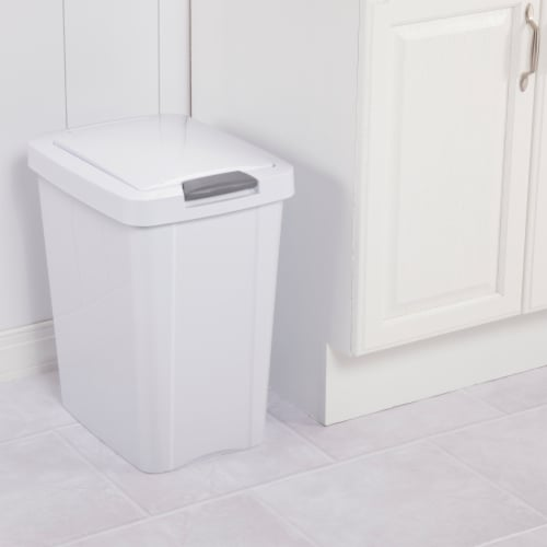 Sterilite 10438004 28 Ltr. Touch Top Wastebasket Can White Perspective: back