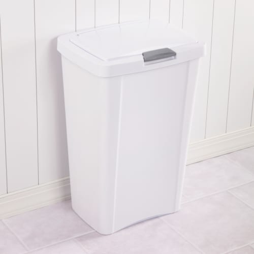 Sterilite Touch-Top Wastebasket - White Perspective: back